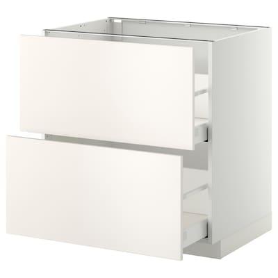 METOD benkeskap 2 fr/2 h skuff hvit/Veddinge hvit 80.0 cm 61.6 cm 88.0 cm 60.0 cm 80.0 cm