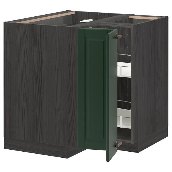 METOD Benkehjørneskap med karusell, svart/Bodbyn mørk grønn, 88x88 cm