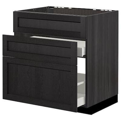 METOD Benkesk f oppv +3 fr/2 sk, svart/Lerhyttan svartbeiset, 80x60 cm