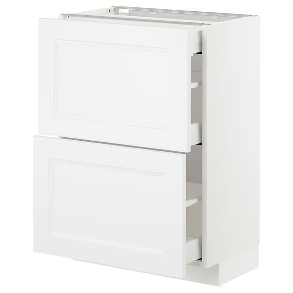 METOD Benkeskap 2 fronter/3 skuffer, hvit/Axstad matt hvit, 60x37 cm