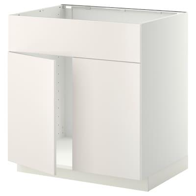 METOD Benkeskap f oppvaskkum 2dør/fr, hvit/Veddinge hvit, 80x60 cm