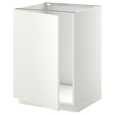 METOD Benkeskap for oppvaskkum, hvit/Veddinge hvit, 60x60 cm