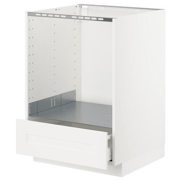 METOD Benkeskap for ovn, m skuff, hvit/Sävedal hvit, 60x60 cm