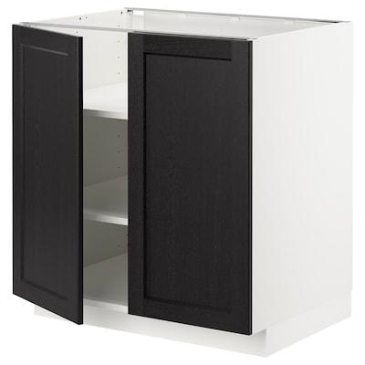 METOD Benkeskap m hylleplate/2 dører, hvit/Lerhyttan svartbeiset, 80x60 cm