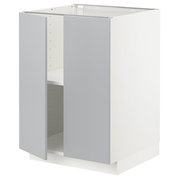 METOD Benkeskap m hylleplate/2 dører, hvit/Veddinge grå, 60x60 cm