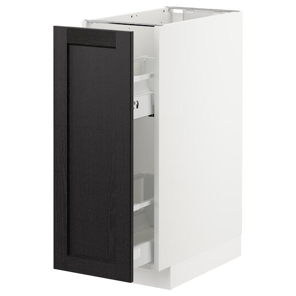 METOD Benkeskap m utrb innr, hvit/Lerhyttan svartbeiset, 30x60 cm