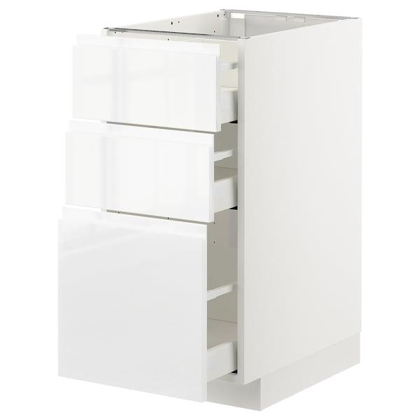 METOD Benkeskap med 3 skuffer, hvit/Voxtorp høyglanset/hvit, 40x60 cm