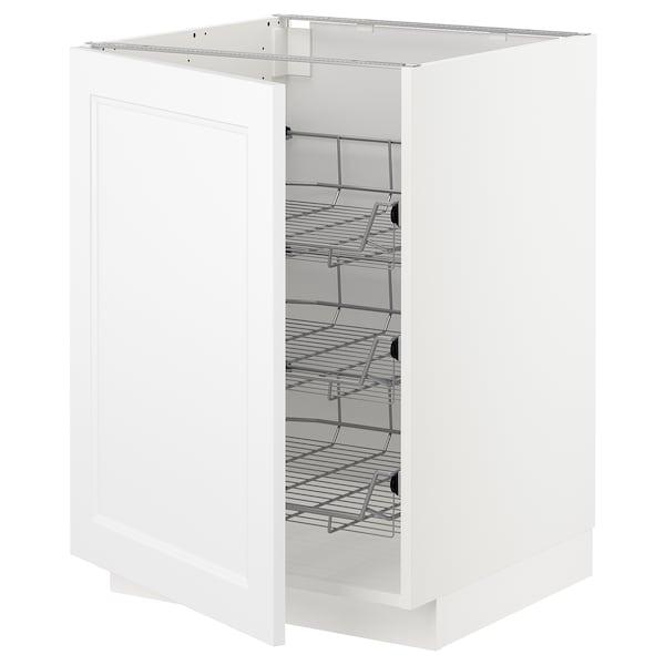 METOD Benkeskap med trådhyller, hvit/Axstad matt hvit, 60x60 cm