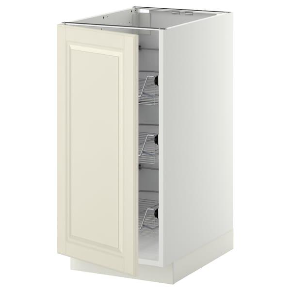 METOD Benkeskap med trådhyller, hvit/Bodbyn offwhite, 40x60 cm