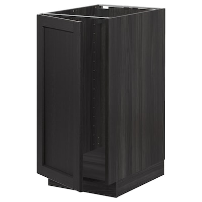 METOD Benkeskap t kum/avfallsortering, svart/Lerhyttan svartbeiset, 40x60 cm