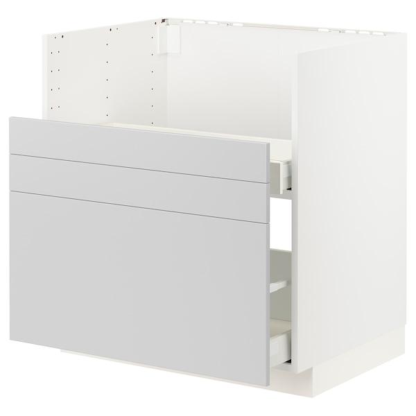 METOD Benkeskap til BREDSJÖN/2 front/2 sk, hvit/Veddinge grå, 80x60 cm