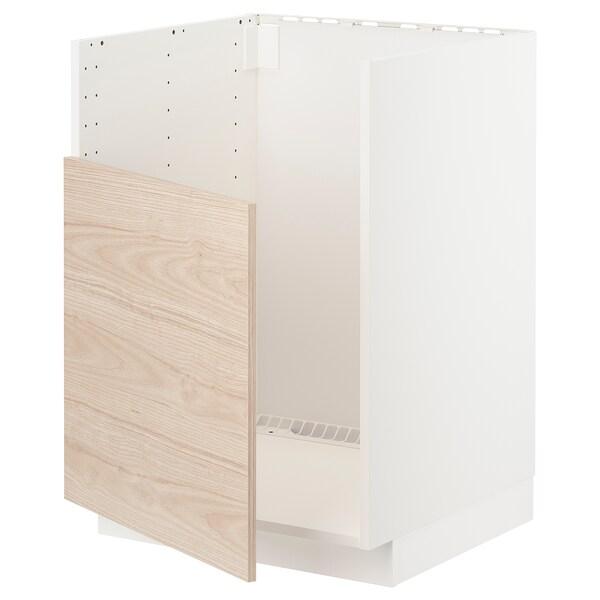 METOD Benkeskap til BREDSJÖN oppvaskkum, hvit/Askersund lyst askemønster, 60x60 cm