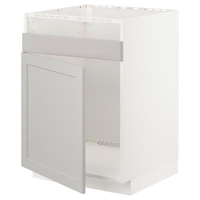 METOD Benkeskap, til HAVSEN med 1 kum, hvit/Lerhyttan lys grå, 60x60 cm