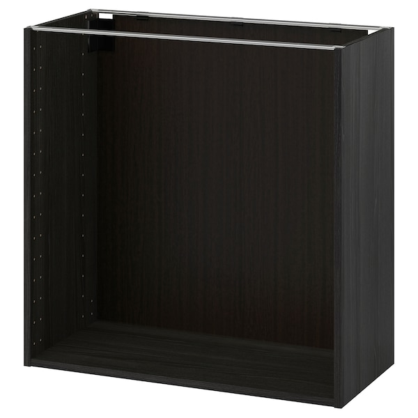 METOD Benkeskapstamme, tremønstret svart, 80x37x80 cm