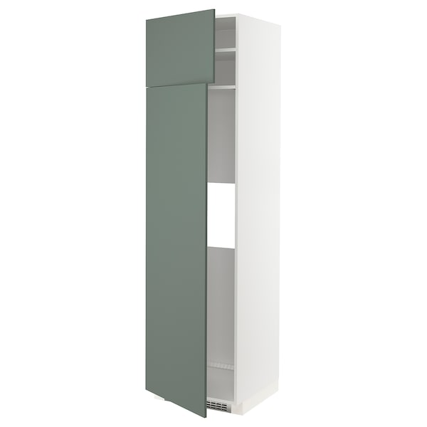 METOD Høyskap f kjøleskap/fryser 2 dører, hvit/Bodarp grågrønn, 60x60x220 cm