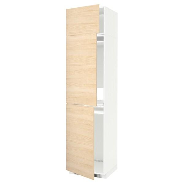 METOD Høyskap f kjøleskap/fryser+ 3 dører, hvit/Askersund lyst askemønster, 60x60x240 cm