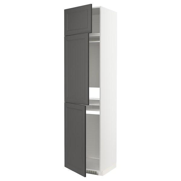 METOD Høyskap f kjøleskap/fryser+ 3 dører, hvit/Axstad mørk grå, 60x60x240 cm