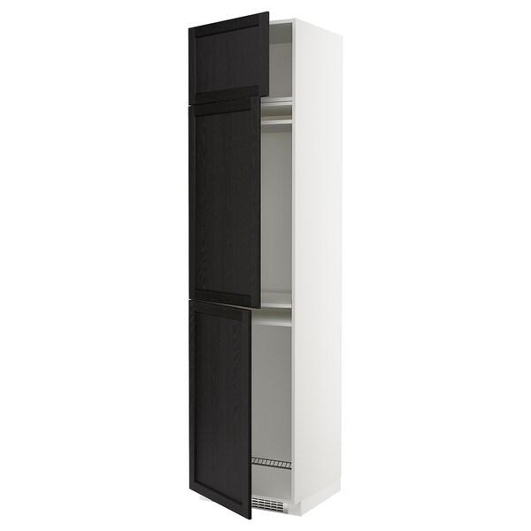 METOD Høyskap f kjøleskap/fryser+ 3 dører, hvit/Lerhyttan svartbeiset, 60x60x240 cm
