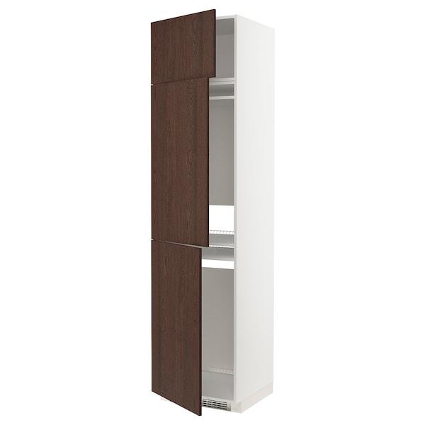 METOD Høyskap f kjøleskap/fryser+ 3 dører, hvit/Sinarp brun, 60x60x240 cm