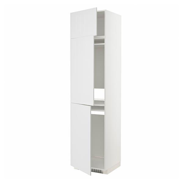 METOD Høyskap f kjøleskap/fryser+ 3 dører, hvit/Stensund hvit, 60x60x240 cm