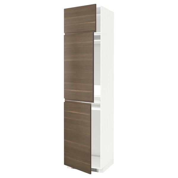 METOD Høyskap f kjøleskap/fryser+ 3 dører, hvit/Voxtorp valnøttmønstret, 60x60x240 cm