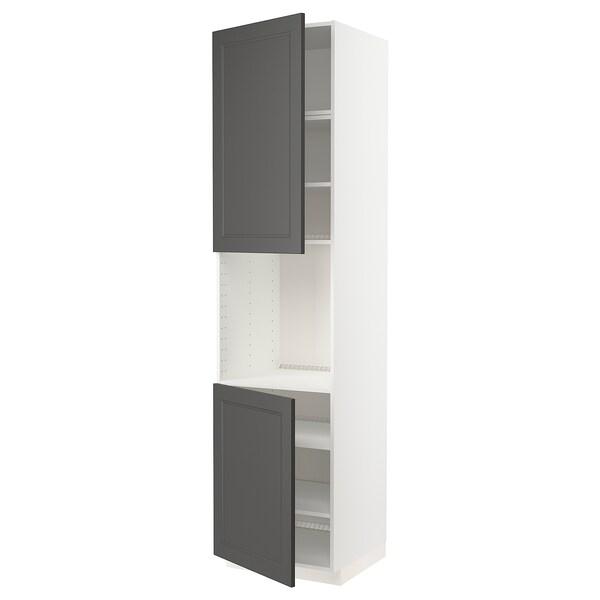 METOD Høyskap f ovn 2 dører/hylleplater, hvit/Axstad mørk grå, 60x60x240 cm