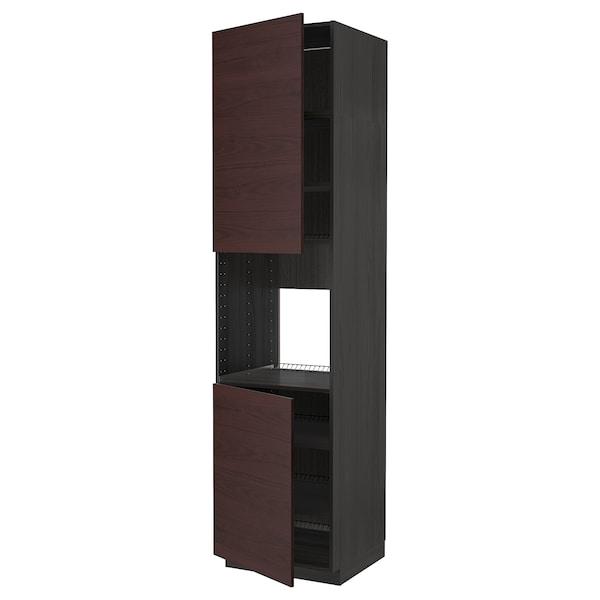 METOD Høyskap f ovn 2 dører/hylleplater, svart Askersund/mørk brun askemønstret, 60x60x240 cm