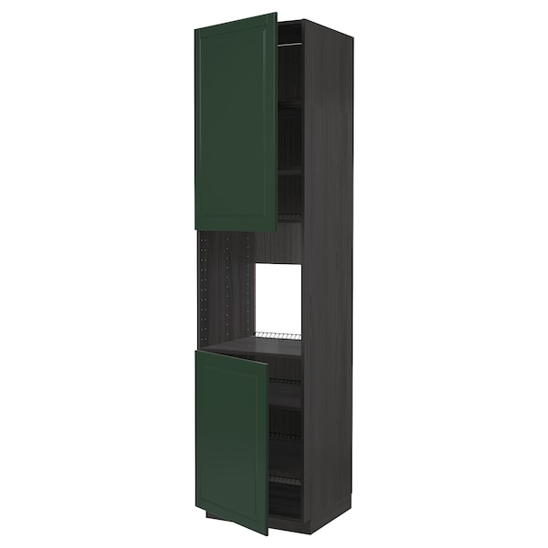 METOD Høyskap f ovn 2 dører/hylleplater, svart/Bodbyn mørk grønn, 60x60x240 cm