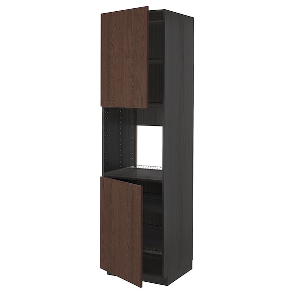 METOD Høyskap f ovn 2 dører/hylleplater, svart/Sinarp brun, 60x60x220 cm