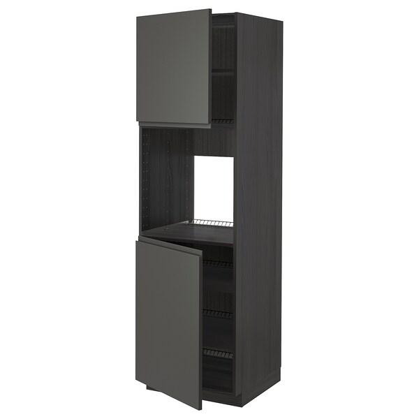 METOD Høyskap f ovn 2 dører/hylleplater, svart/Voxtorp mørk grå, 60x60x200 cm