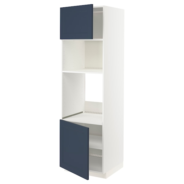 METOD Høyskap f ovn/mikro m 2 dører/hylle, hvit Axstad/matt blå, 60x60x200 cm
