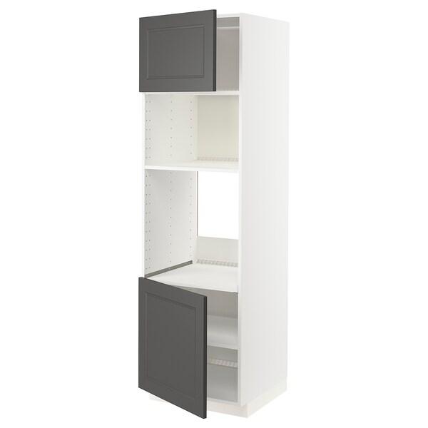 METOD Høyskap f ovn/mikro m 2 dører/hylle, hvit/Axstad mørk grå, 60x60x200 cm