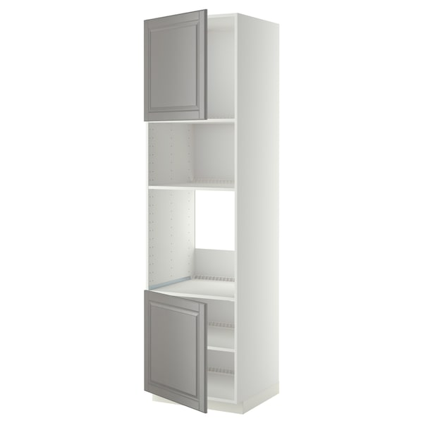 METOD Høyskap f ovn/mikro m 2 dører/hylle, hvit/Bodbyn grå, 60x60x220 cm