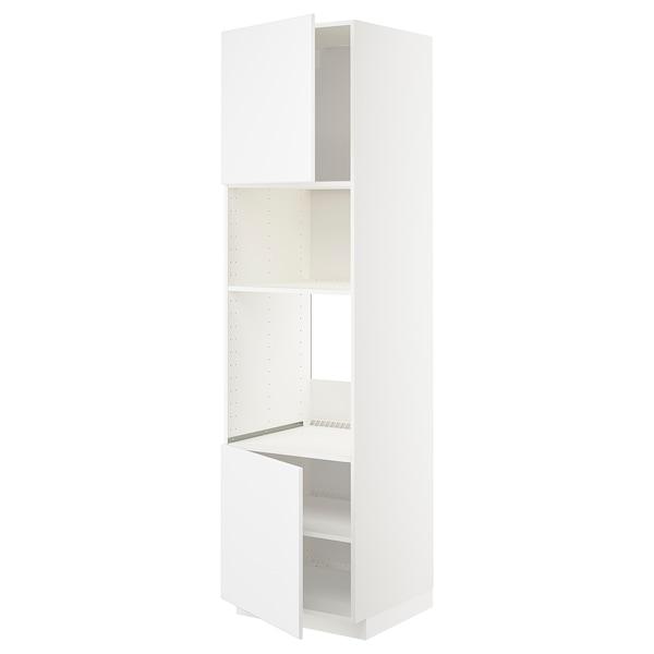 METOD Høyskap f ovn/mikro m 2 dører/hylle, hvit/Kungsbacka matt hvit, 60x60x220 cm