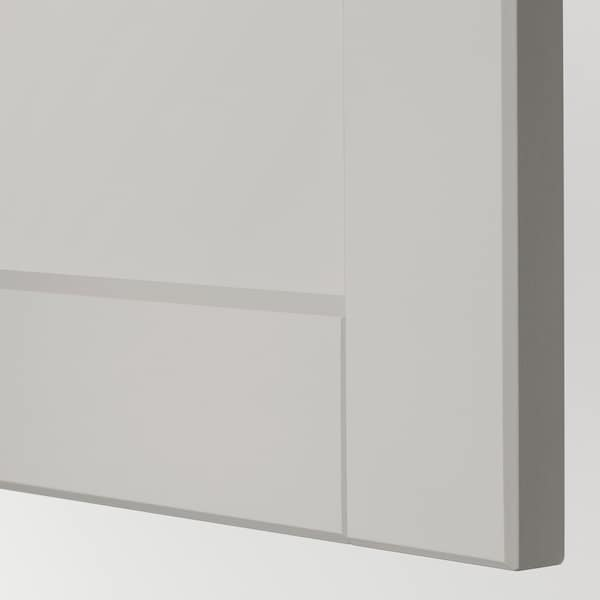 METOD Høyskap f ovn/mikro m 2 dører/hylle, hvit/Lerhyttan lys grå, 60x60x220 cm