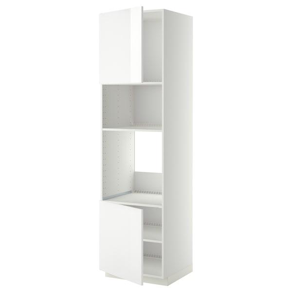 METOD Høyskap f ovn/mikro m 2 dører/hylle, hvit/Ringhult hvit, 60x60x220 cm