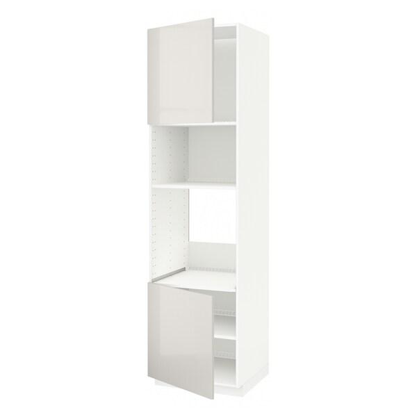 METOD Høyskap f ovn/mikro m 2 dører/hylle, hvit/Ringhult lys grå, 60x60x220 cm