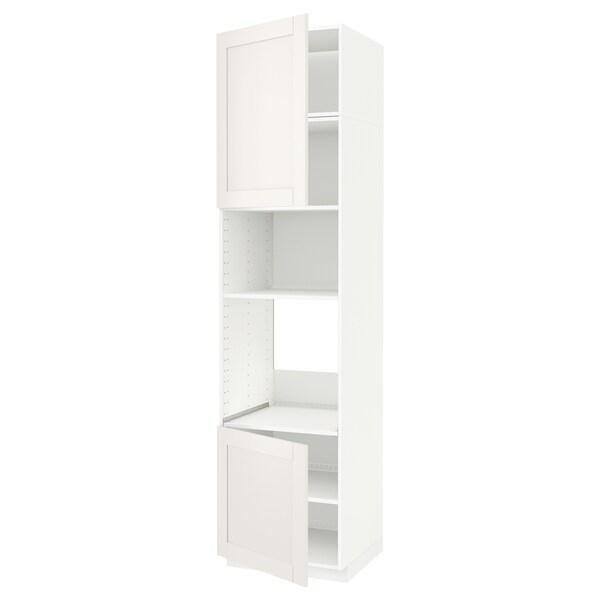 METOD Høyskap f ovn/mikro m 2 dører/hylle, hvit/Sävedal hvit, 60x60x240 cm