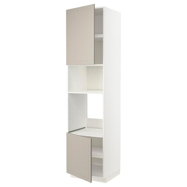 METOD Høyskap f ovn/mikro m 2 dører/hylle, hvit/Stensund beige, 60x60x240 cm