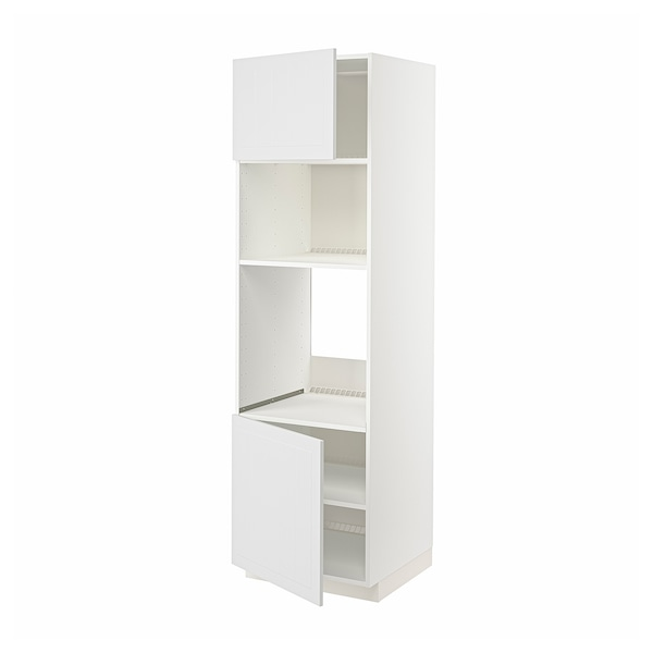 METOD Høyskap f ovn/mikro m 2 dører/hylle, hvit/Stensund hvit, 60x60x200 cm