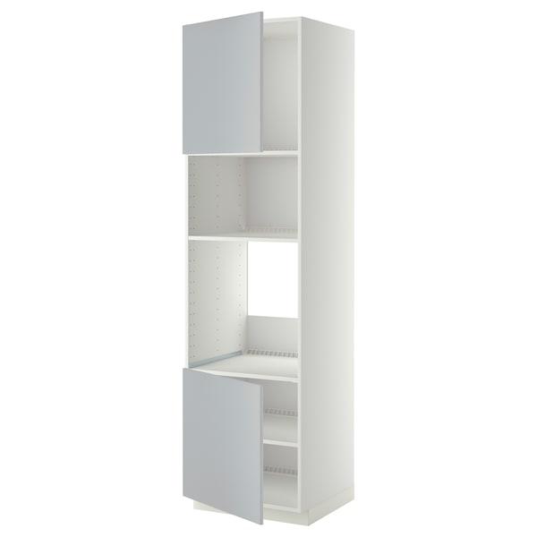 METOD Høyskap f ovn/mikro m 2 dører/hylle, hvit/Veddinge grå, 60x60x220 cm