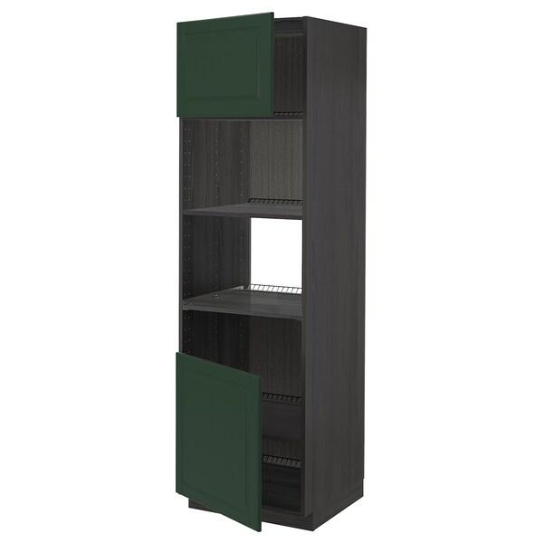 METOD Høyskap f ovn/mikro m 2 dører/hylle, svart/Bodbyn mørk grønn, 60x60x200 cm