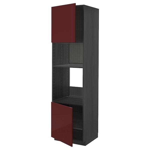 METOD Høyskap f ovn/mikro m 2 dører/hylle, svart Kallarp/høyglans mørk rød-brun, 60x60x220 cm