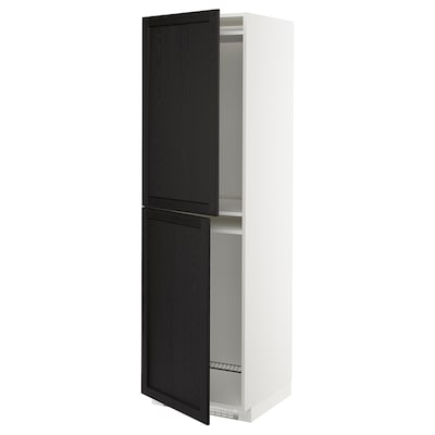 METOD Høyskap for kjøleskap/fryser, hvit/Lerhyttan svartbeiset, 60x60x200 cm