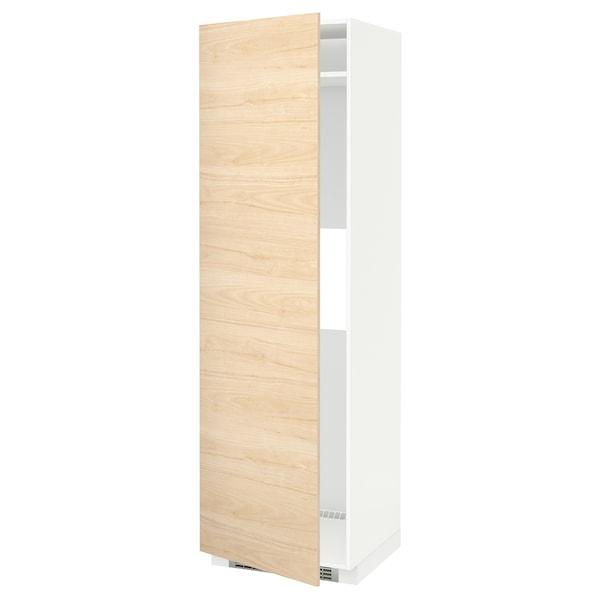 METOD Høyskap kjøl / frys m dør, hvit/Askersund lyst askemønster, 60x60x200 cm