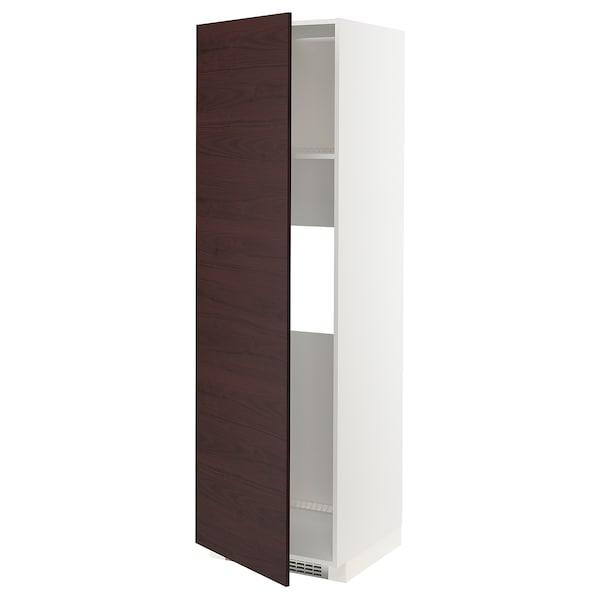 METOD Høyskap kjøl / frys m dør, hvit Askersund/mørk brun askemønstret, 60x60x200 cm