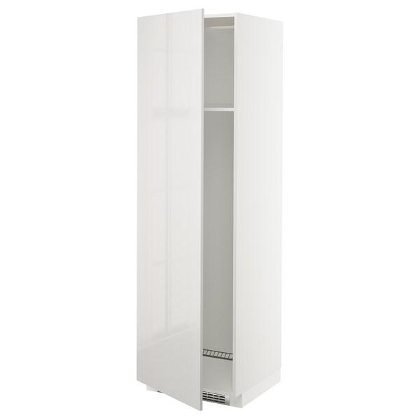 METOD Høyskap kjøl / frys m dør, hvit/Ringhult lys grå, 60x60x200 cm