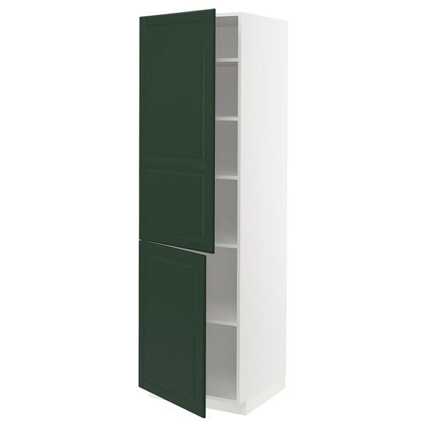 METOD Høyskap med hylleplater/2 dører, hvit/Bodbyn mørk grønn, 60x60x200 cm