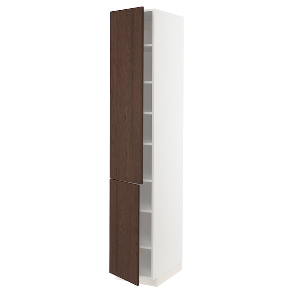 METOD Høyskap med hylleplater/2 dører, hvit/Sinarp brun, 40x60x220 cm