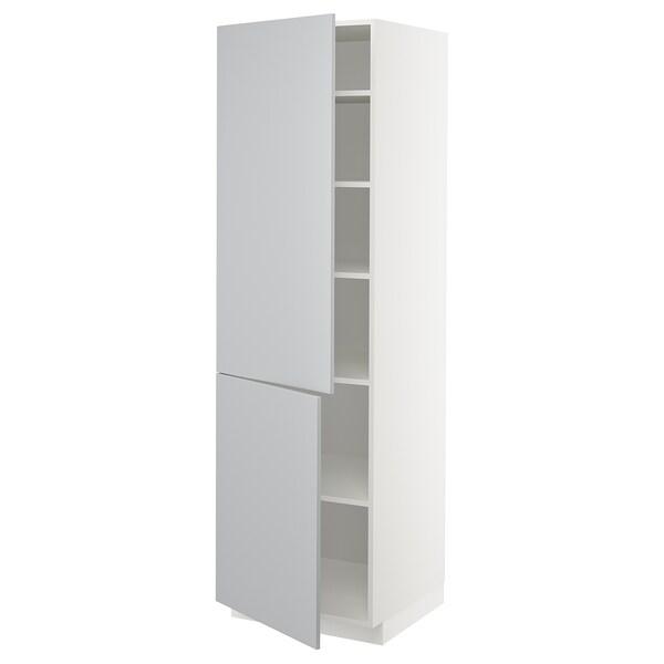 METOD Høyskap med hylleplater/2 dører, hvit/Veddinge grå, 60x60x200 cm